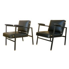 Jacques Adnet Chic Pair of Black Hand-Stitched Lounge Chairs