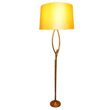 "FELIX AGOSTINI SIGNED floor lamp model""nymphe"" in gold bronze"