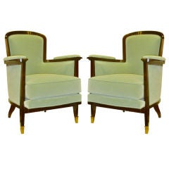 MAURICE JALLOT rare design pair of comfortable arm chairs