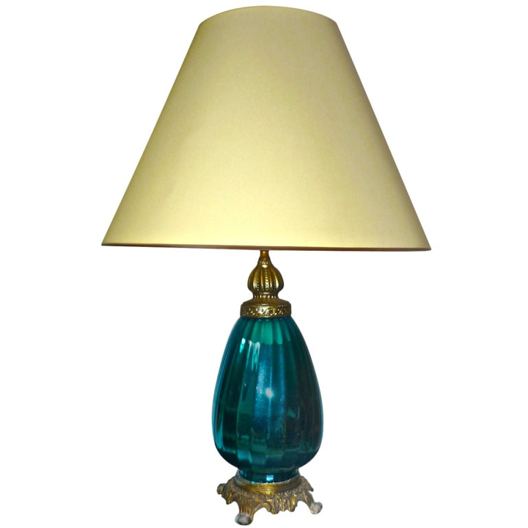 Turquoise Mercury Superb 1940 Italian Lamp With Metal Base