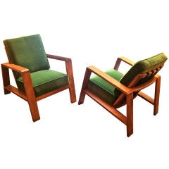 Jean Royere Rare Pair of Oak Lounge Chairs Recovered in Mohair