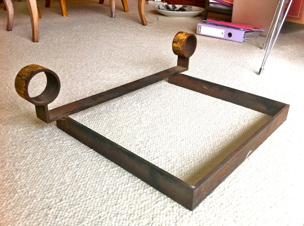 Jean Royere Large Very Pure Design Wrought Iron Andiron ...