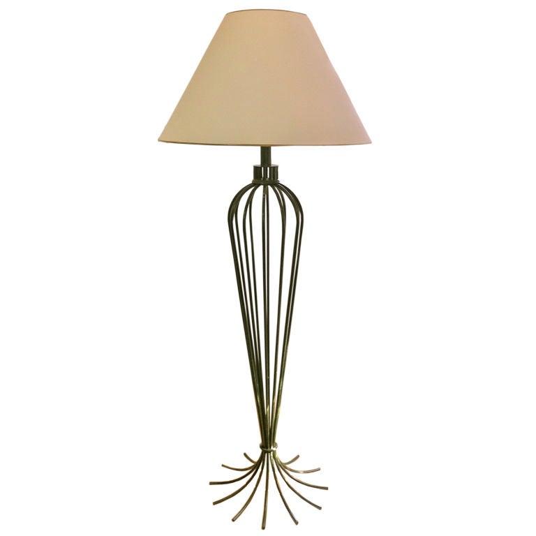 Jean Royere Rare Floor Lamp In Green Metal Model