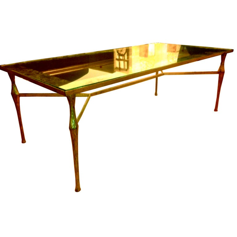 Felix Agostini Gold Leaf Wrought Iron Coffee Table At 1stdibs