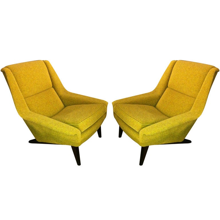 Folke Ohlsson Extremely fortable Pair of Lounge Chairs at 1stdibs