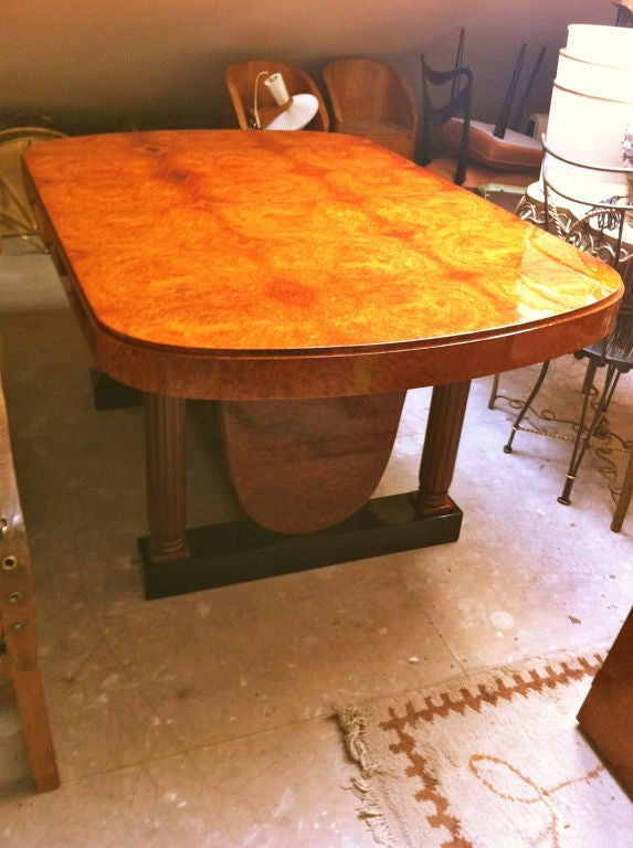 Very Long Amboina Art Deco Dining Table With One Leave For