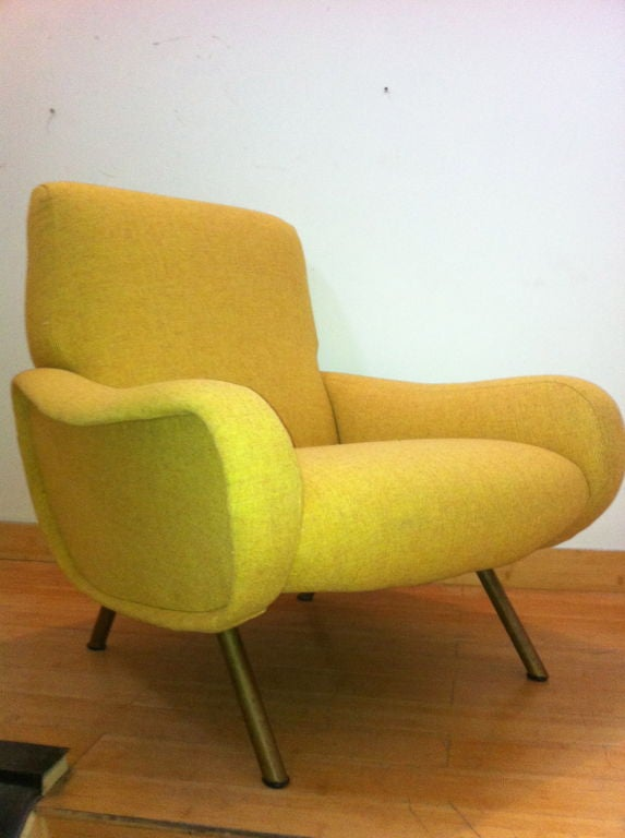 Marco Zanuso Vintage Lady Pair Of Chairs Recovered In Yellow image 10