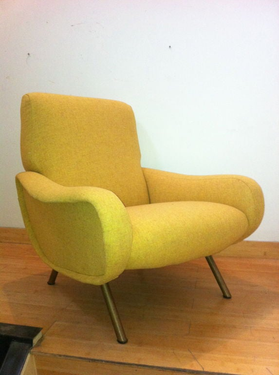 Marco Zanuso Vintage Lady Pair Of Chairs Recovered In Yellow image 3