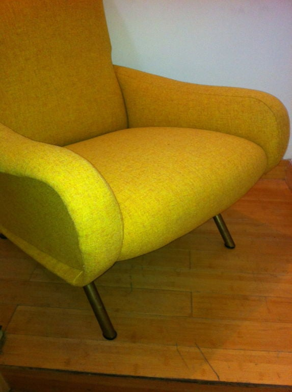 Marco Zanuso Vintage Lady Pair Of Chairs Recovered In Yellow image 4