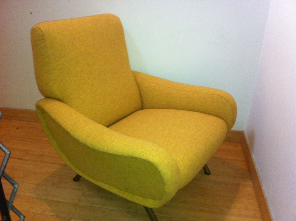 Marco Zanuso Vintage Lady Pair Of Chairs Recovered In Yellow image 5