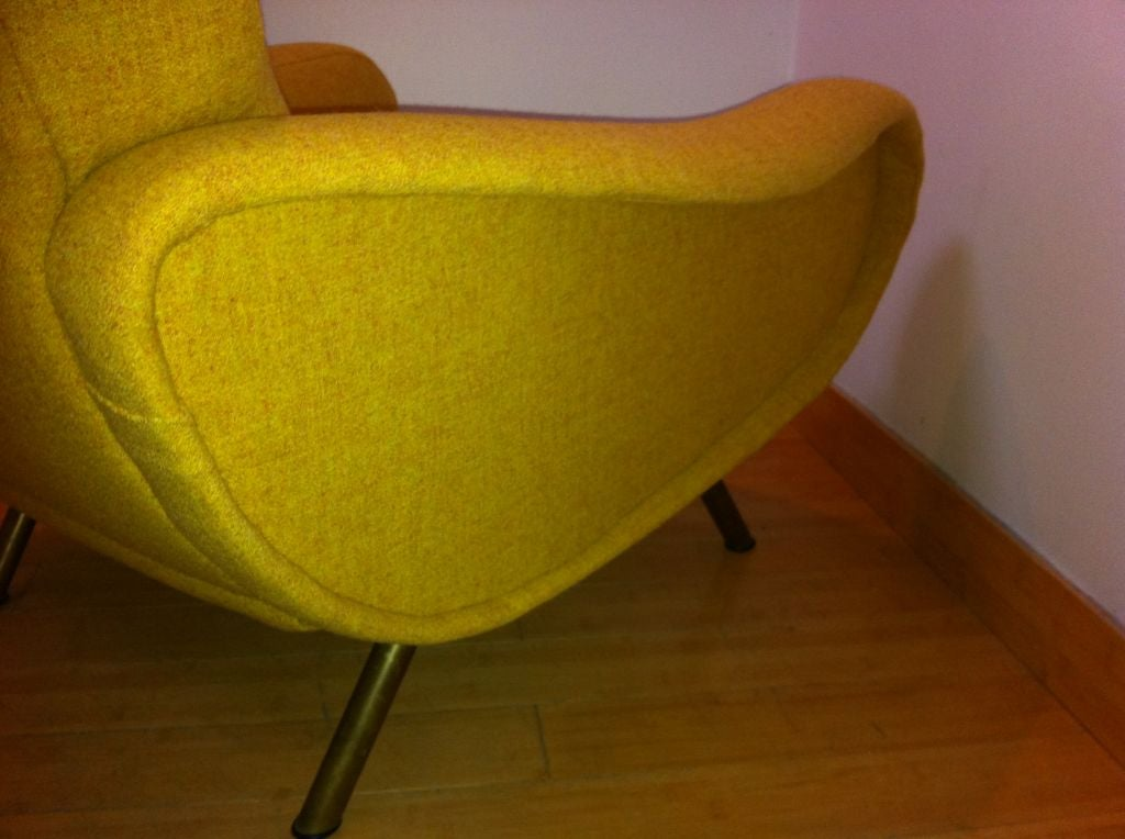 Marco Zanuso Vintage Lady Pair Of Chairs Recovered In Yellow image 7