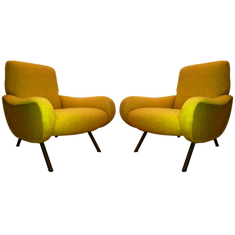Marco Zanuso Vintage Lady Pair Of Chairs Recovered In Yellow image 2