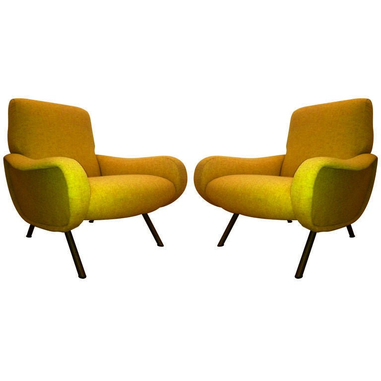 Marco Zanuso Vintage Lady Pair Of Chairs Recovered In Yellow
