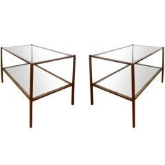 Maison Jansen 1970s Pair of Pure Design Two-Tier Tables
