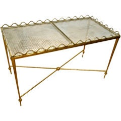 Rene Prou Charming Two Tray Gold Leaf Wrought Iron Serving Table