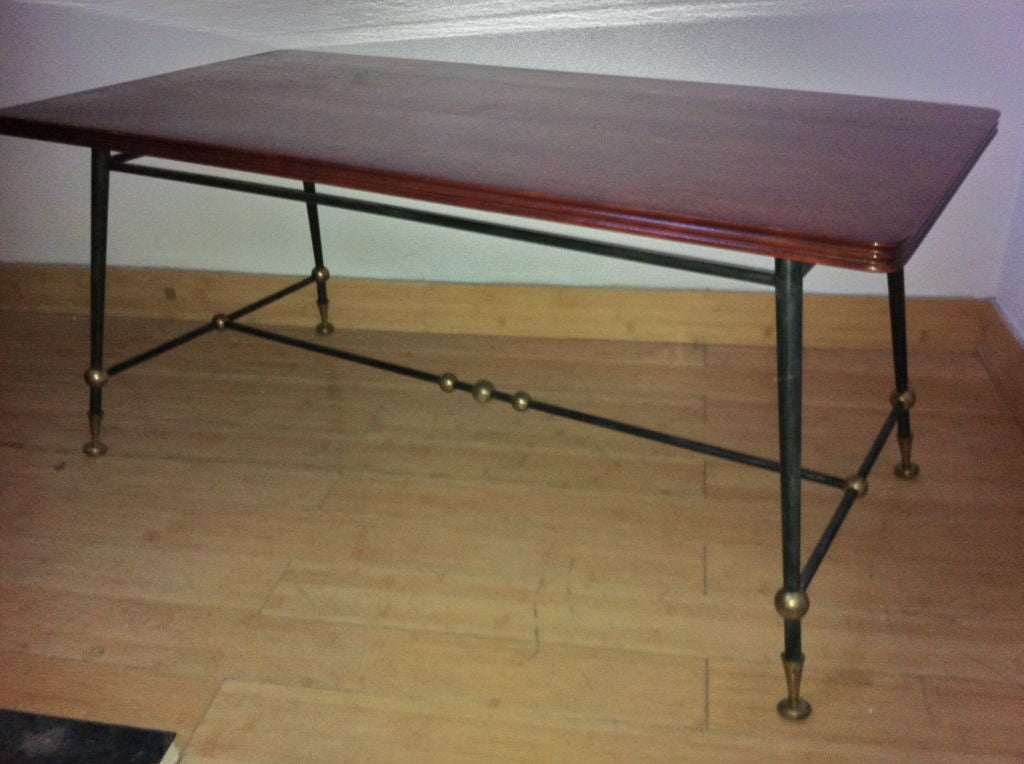 Jules Leleu 1940s Signed Coffee Table In Mahogany And Metal For Sale At 1stdibs