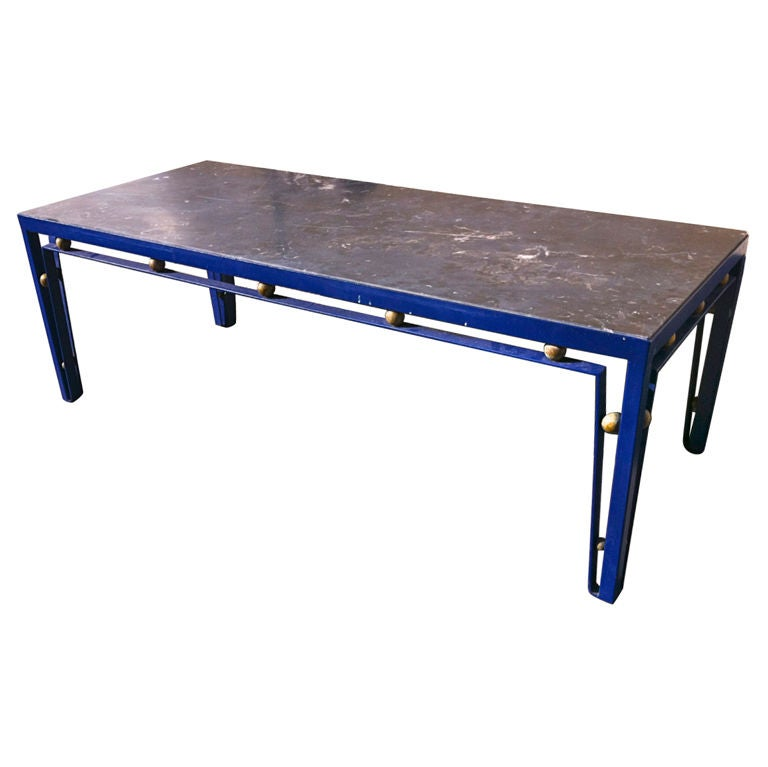 Jean Royere Rare Long Blue Cobalt Metal Coffee Table At 1stdibs