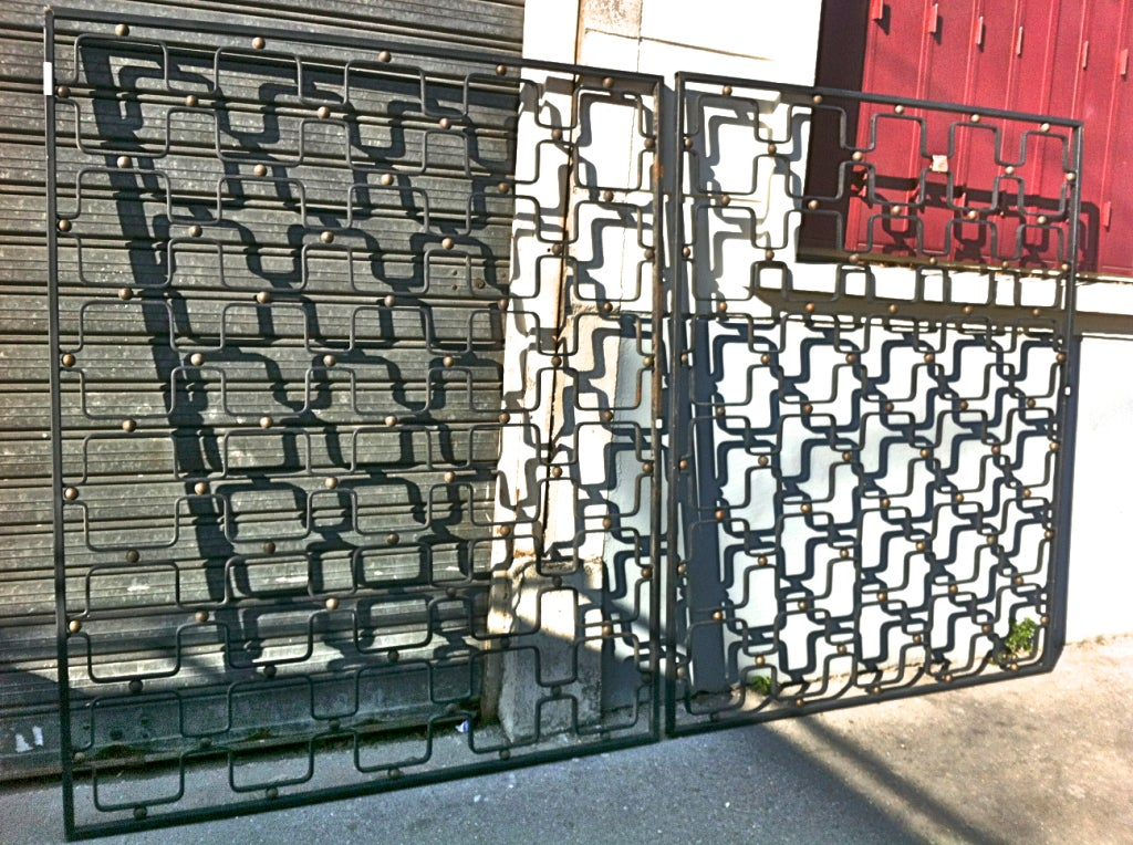 ... Royere Rare Pair Indoor Black And Good Painted Metal Gate at 1stdibs