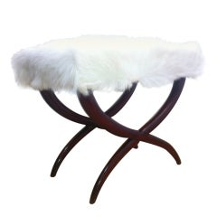Jean Royere Goat Hair X-Shaped Stool