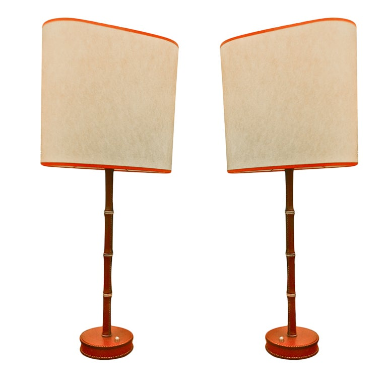 adnet pair of red hand stitched leather lamps for sale at 1stdibs. Black Bedroom Furniture Sets. Home Design Ideas