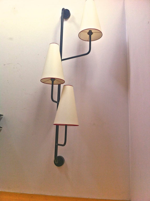 Painting Brass Wall Sconces : Jean Royere 3 Lights Black Painted Metal Wall Sconce at 1stdibs