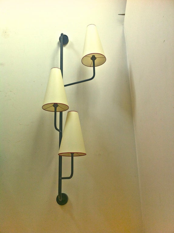 Jean Royere 3 Lights Black Painted Metal Wall Sconce at 1stdibs