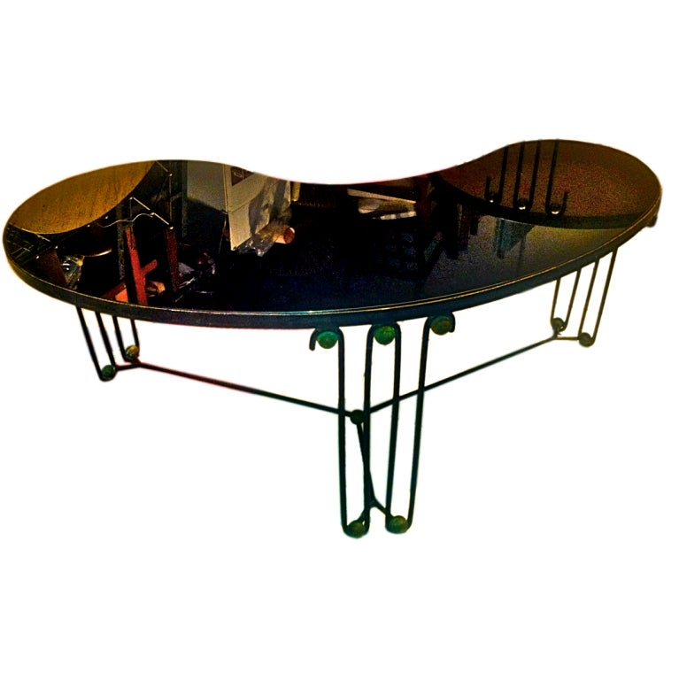 Jean roy re rare boomerang coffee table in black wrought for Glass coffee table wrought iron legs