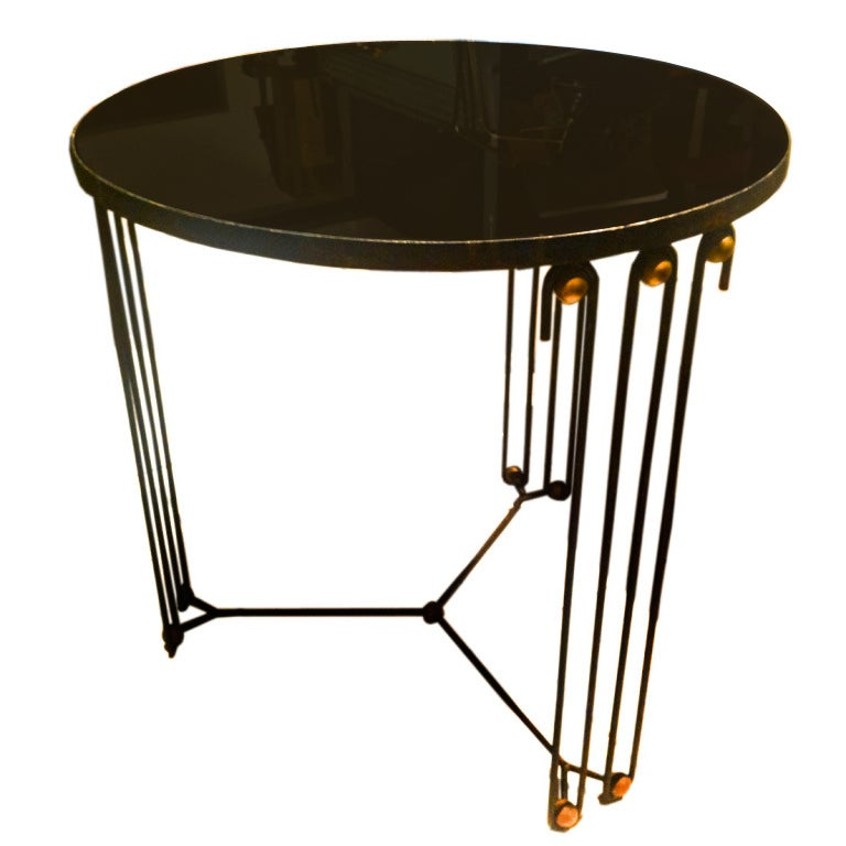 Jean Royere Rare Round Coffee Table In Black Painted Iron At 1stdibs