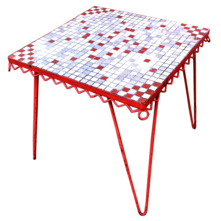 French Riviera Coffee Table Book: Charming 1950 French Riviera Coffee Table In Red Iron And