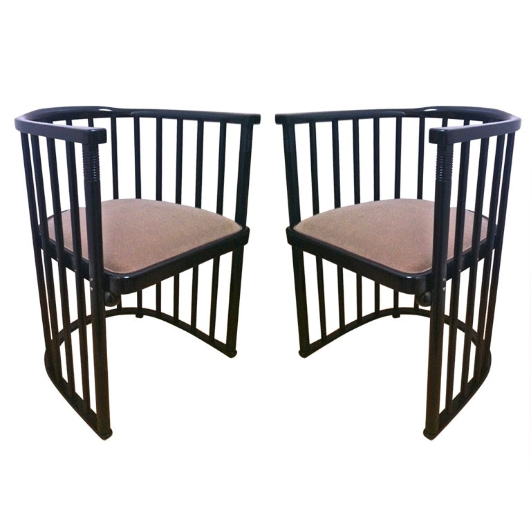 Joseph Hoffman For Khon Signed Pair Of Barrel Chairs At
