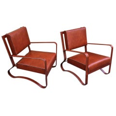 Jacques Adnet Pair Of Rare Lounge Chairs In Hand Stitched Leather