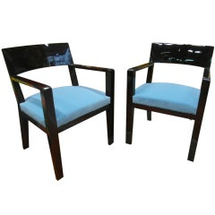 Jean Royère Chic Pair of Armchair Recovered in Blue Velvet