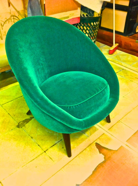 Pair Of Egg Chairs In The Style Of Jean Roy 232 Re Covered In