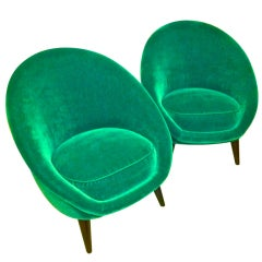 Pair of Egg Chairs in the Style of Jean Royère, Covered in Green Mohair