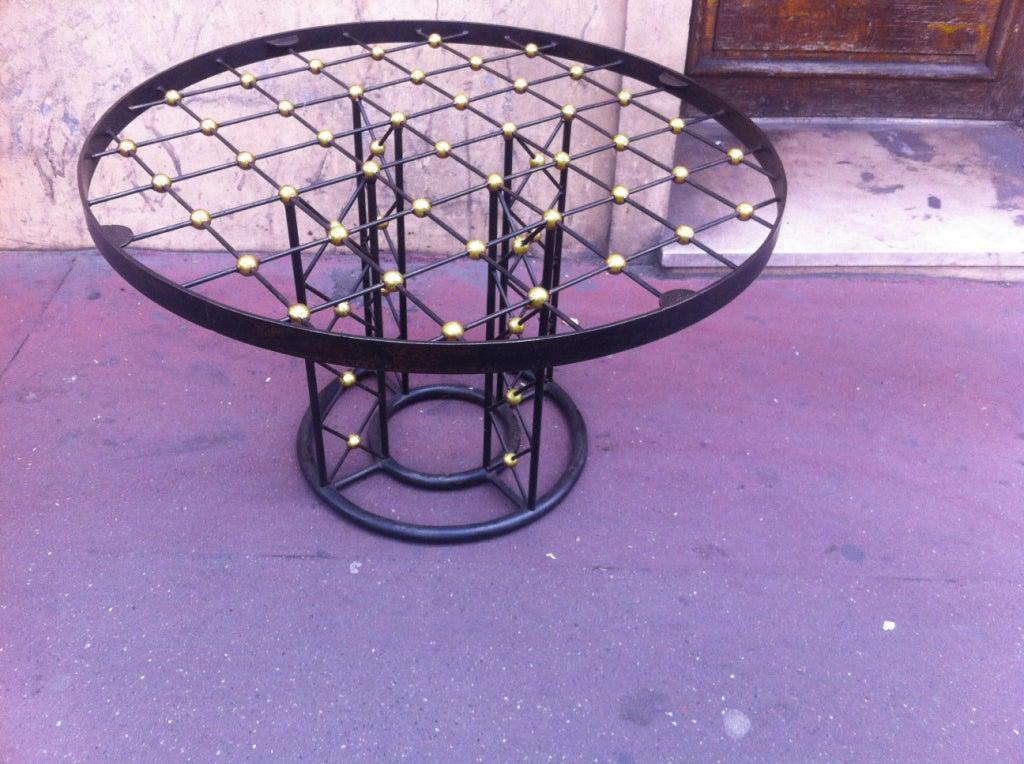 Jean Royere Tour Eiffel Rare Wrought Iron Round Coffee Table At 1stdibs