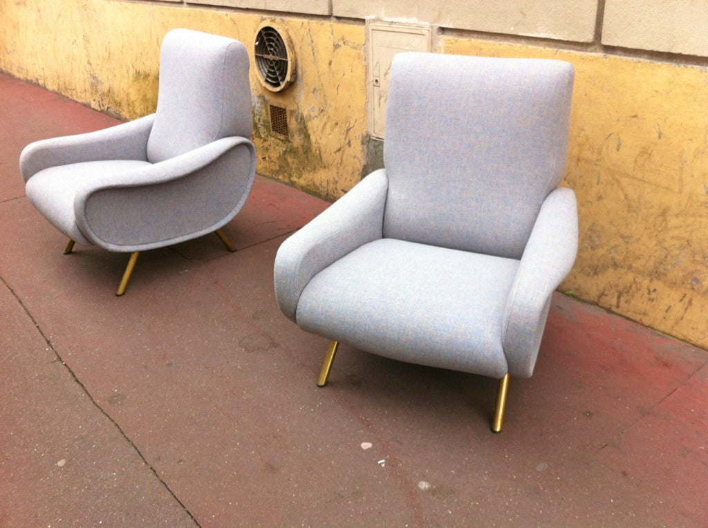 Marco Zanuso Vintage Quot Lady Quot Couch In Chine Light Blue