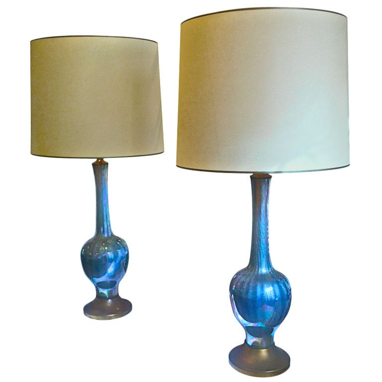 murano iridescent blue glass pair of table lamps for sale at 1stdibs. Black Bedroom Furniture Sets. Home Design Ideas