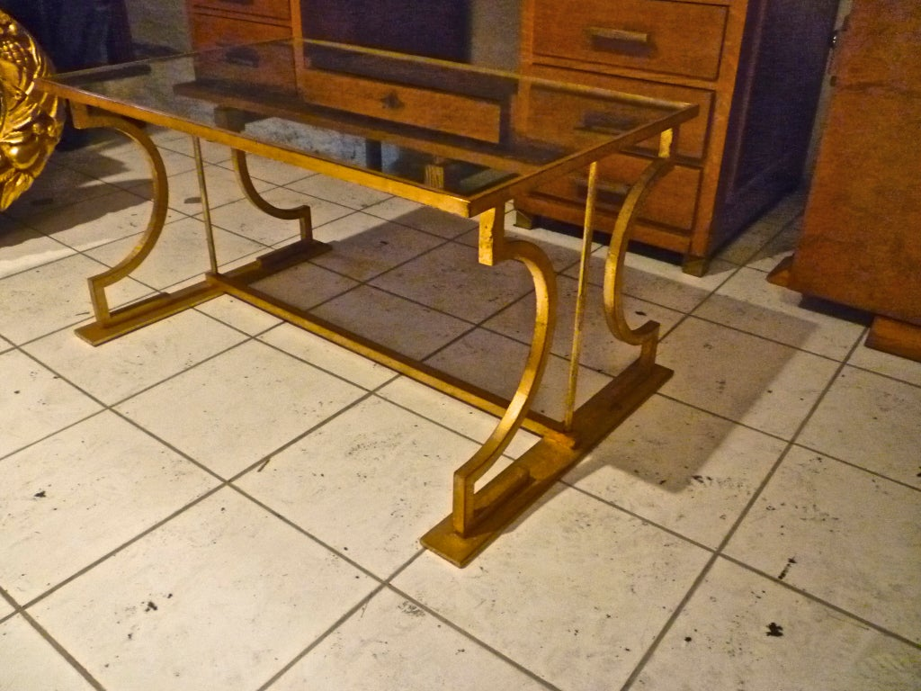 Rod iron coffee table - Marc Duplantier Neo Classic Gold Leaf Wrought Iron Coffee Table 2