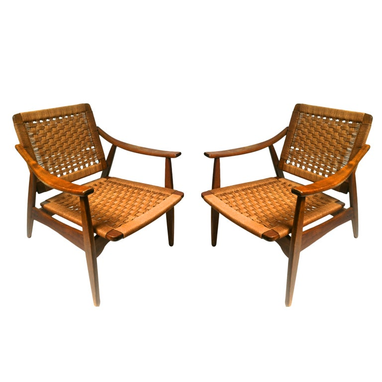 Superb Danish Pair Of Woven Rope Chairs With Reclining