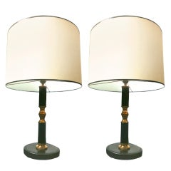 Jacques Adnet Pair of Black Leather and Brass Table Lamps