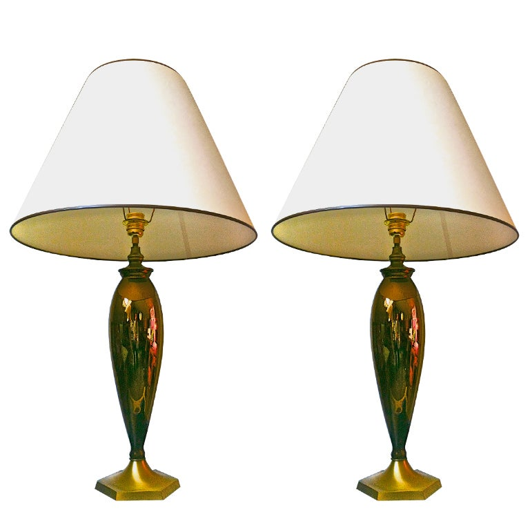 superb pair of brown mercury glass lamp with gold brass. Black Bedroom Furniture Sets. Home Design Ideas