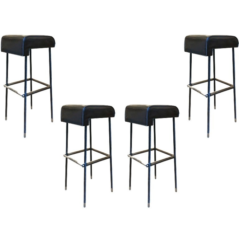 Jacques Adnet Rarest Set Of Four Bar Stools In Hand