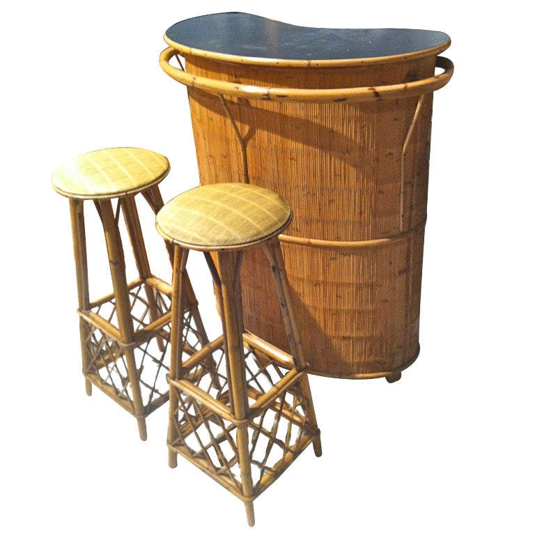 French Riviera Charming Rattan And Bamboo Bar And Bar Stools At 1stdibs