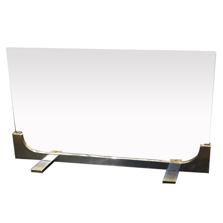 jean paul creations brushed steel and glass 70s fire screen at 1stdibs