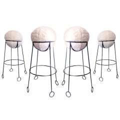 "Jean Royère Rare Documented Set of Four Model ""Yoyo"" Bar Stools"