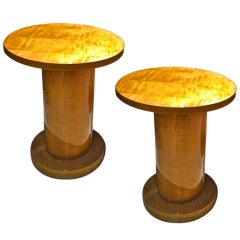 Jules Leleu Sycamore Pair of Refined Round Cylindric Side Tables