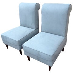 Maison Jansen Pair of Slipper Chairs Newly Upholstered in Grey