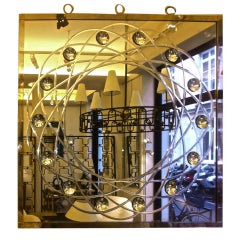 Engraved and Bubble Effect, Nickeled Frame Mirror by Andre Hayat