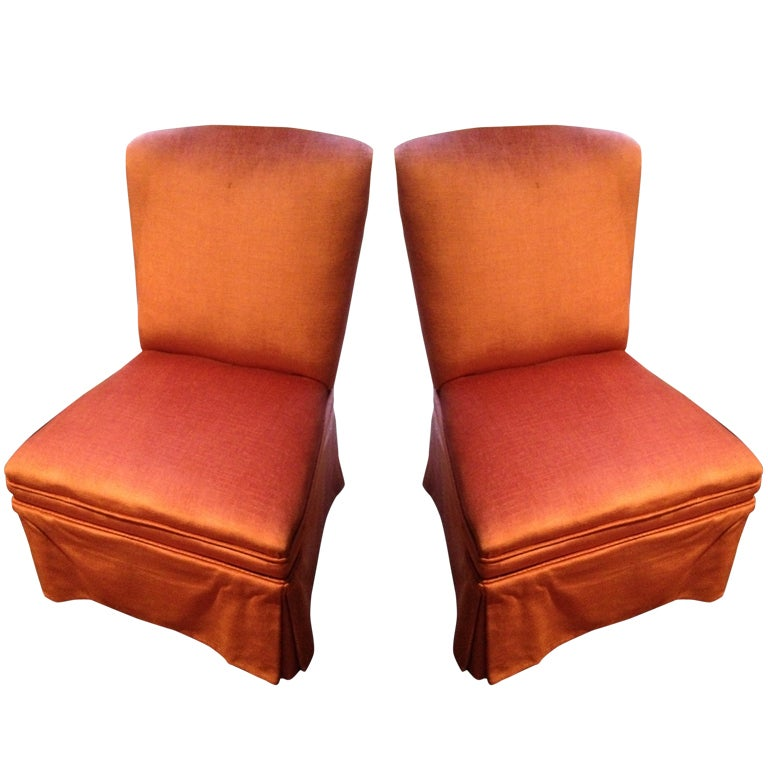 Pair of Vintage Upholstered Slipper Chairs, circa 1970