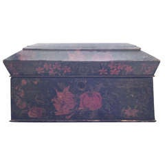 Painted English Victorian Tea Caddy with Original Fittings and Lined in Velvet